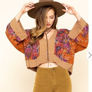 FREE PEOPLE Mix N Match Blouse Floral Crop